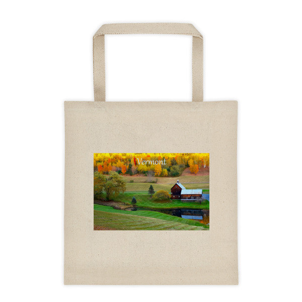 """Rustic Beauty"" Roomy Square Bottom Tote Bag Classic Vermont Barn in Fall - Woodstock, Vermont"