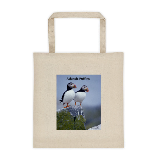 """Taking in the View"" Atlantic Puffins Roomy Square Bottom Tote Bag - One of Dennis' Secret Spots, Maine"