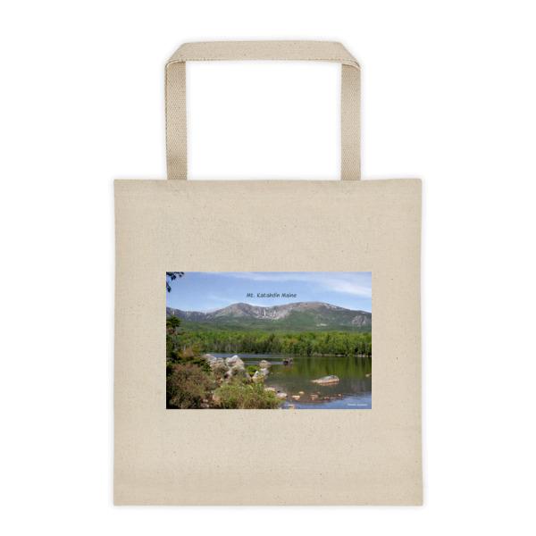 """Serenity"" Mt Katahdin Roomy Square Bottom Tote Bag - Baxter State Park, Maine"