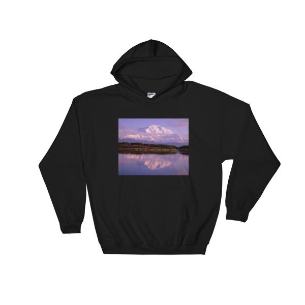 """Reflection Pond Sunset"" Hooded Sweatshirt - Mt. McKinley, Denali National Park, Alaska"