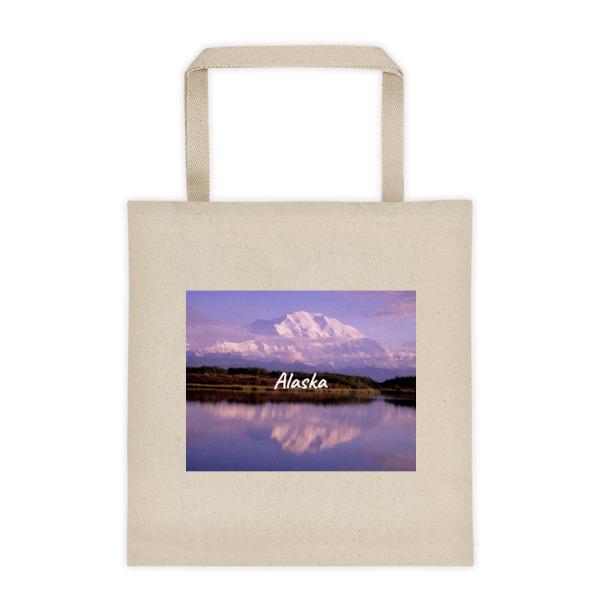 """Reflection Pond Sunset"" Roomy Square Bottom Tote Bag - Mt. McKinley, Denali National Park, Alaska"