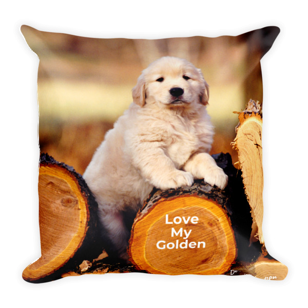 """""""Love My Golden Retriever"""" Decorative Pillow - Double Sided"""