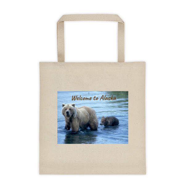 """""""Learning to Swim"""" Mother and Cub Grizzly Bear Roomy Square Bottom Tote Bag - Brooks River Katmai, Alaska"""