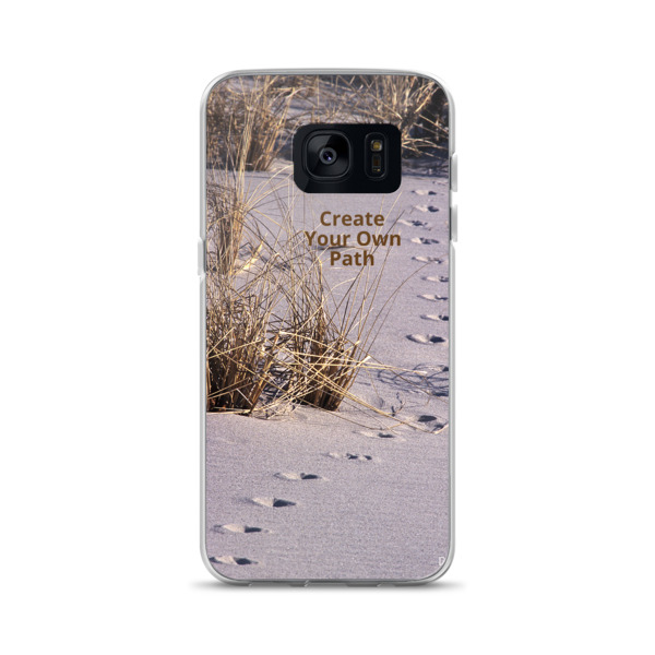 """Create Your Path""  Red Fox Tracks Samsung Phone Case - Island Beach State Park, NJ"