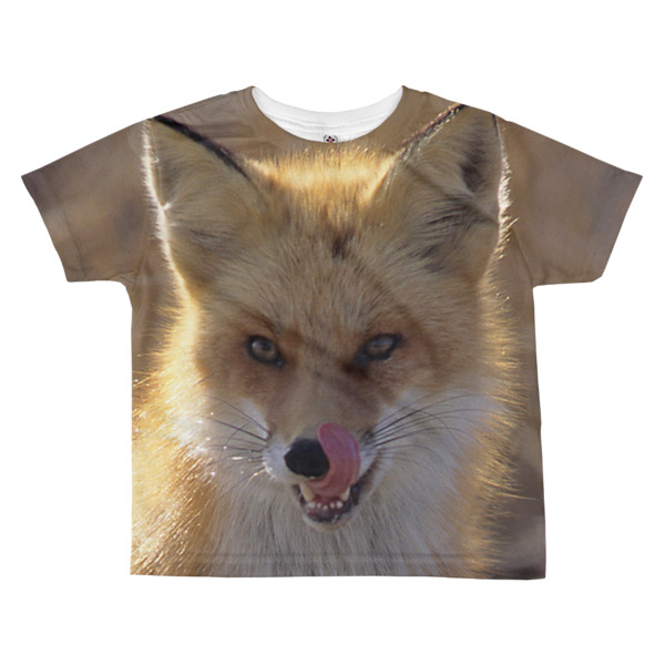 """""""Not So Sly Smile"""" Kid's All-Over T-Shirt """"Just Smile Collection"""" Red Fox - Island Beach State Park, New Jersey"""
