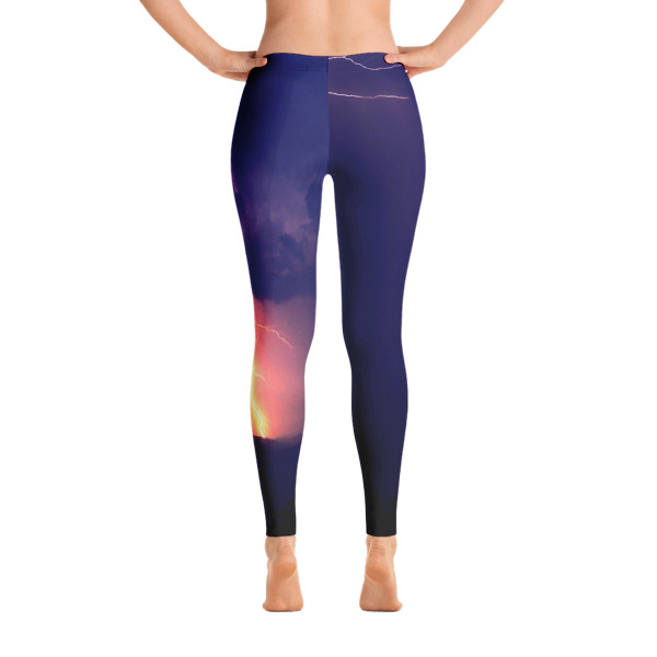 """Bolt"" Lightening Storm Women's All-Over Leggings - Great Smokey Mountains, North Carolina"