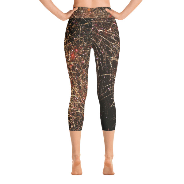 """Lit Up"" Abstract Women's All-Over YOGA Capri Leggings - 4th of July Fireworks - Hudson River, New York City"