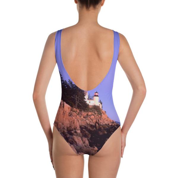 """The Beacon"" Women's One-Piece Swimsuit - Bass Harbor Head Lighthouse Acadia National Park, Maine"