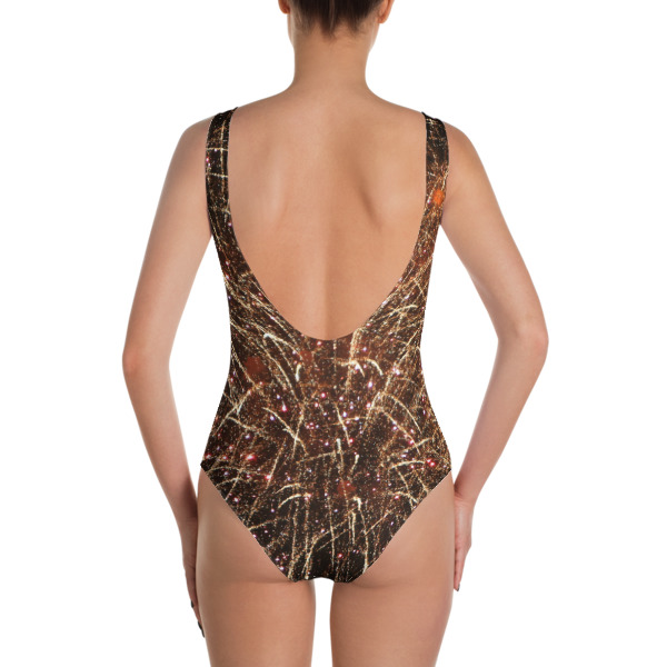 """""""Lit Up"""" Abstract Women's One-Piece Swimsuit - 4th of July Fireworks Hudson River, New York City"""