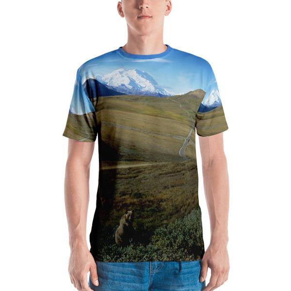 """Zen Grizzly"" Grizzly Bear Colorful Men's  All-Over T-Shirt - Mt. McKinley, Denali National Park, Alaska"