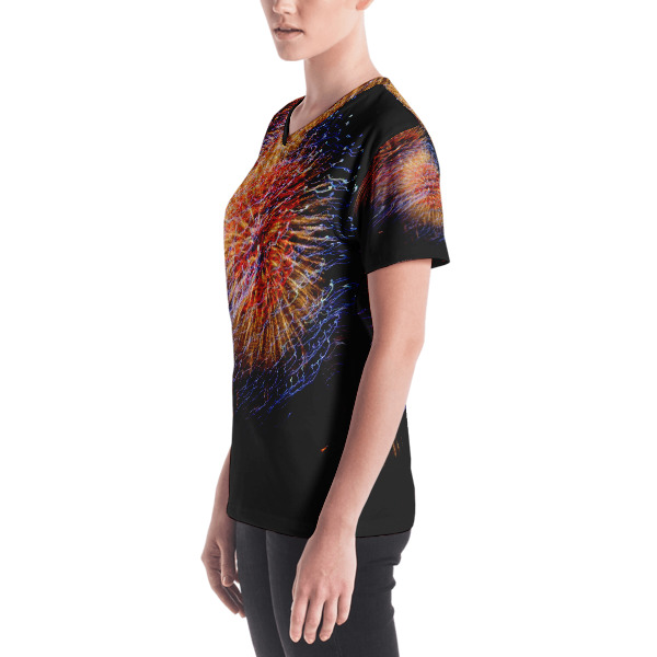 """""""Spectacular Color"""" Abstract Women's All-Over V-Neck T-Shirt - 4th of July Fireworks Hudson River, New York City"""