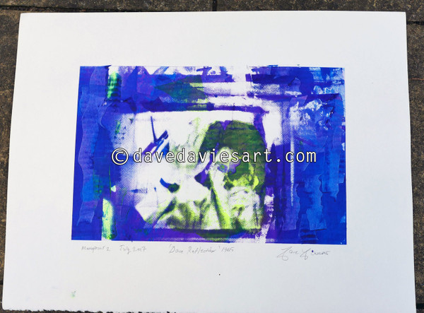 """DAVE REFLECTION 1965"" - purple/blue silkscreen  Monoprint 2"