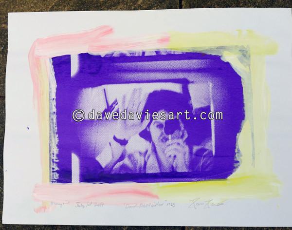 """DAVE REFLECTION 1965"" - purple/blue silkscreen  Monoprint 3"