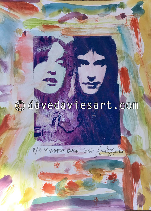 """""""BROTHERS"""" - HAND PAINTED BLUE/PURPLE GICLEE PRINT -  No. 2 of 9"""