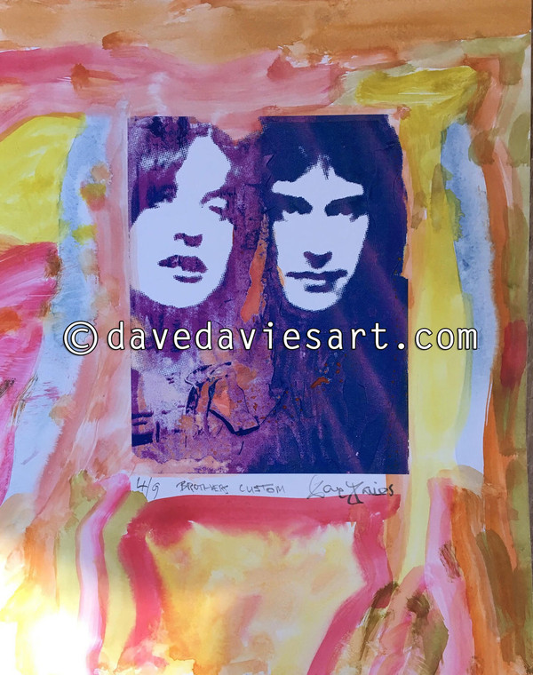 """BROTHERS"" - HAND PAINTED BLUE/PURPLE GICLEE PRINT -  No. 4 of 9"