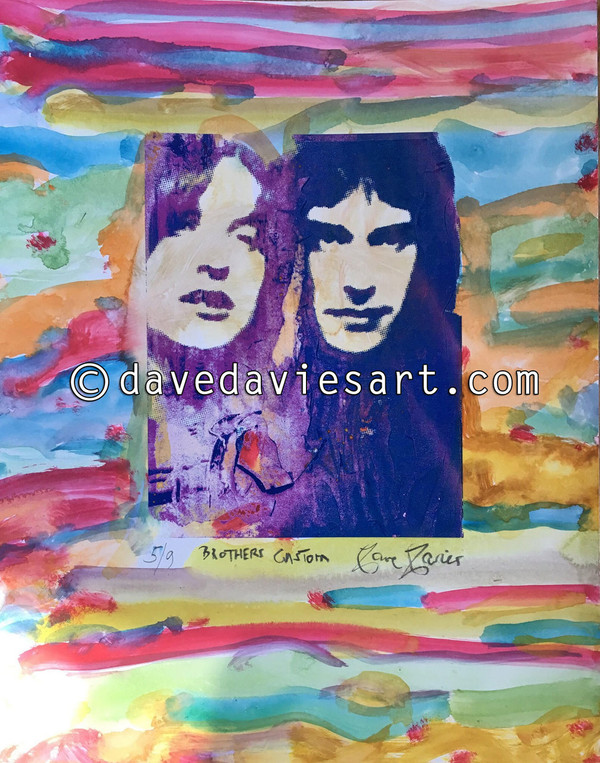 """BROTHERS"" - HAND PAINTED BLUE/PURPLE GICLEE PRINT -  No. 5 of 9"