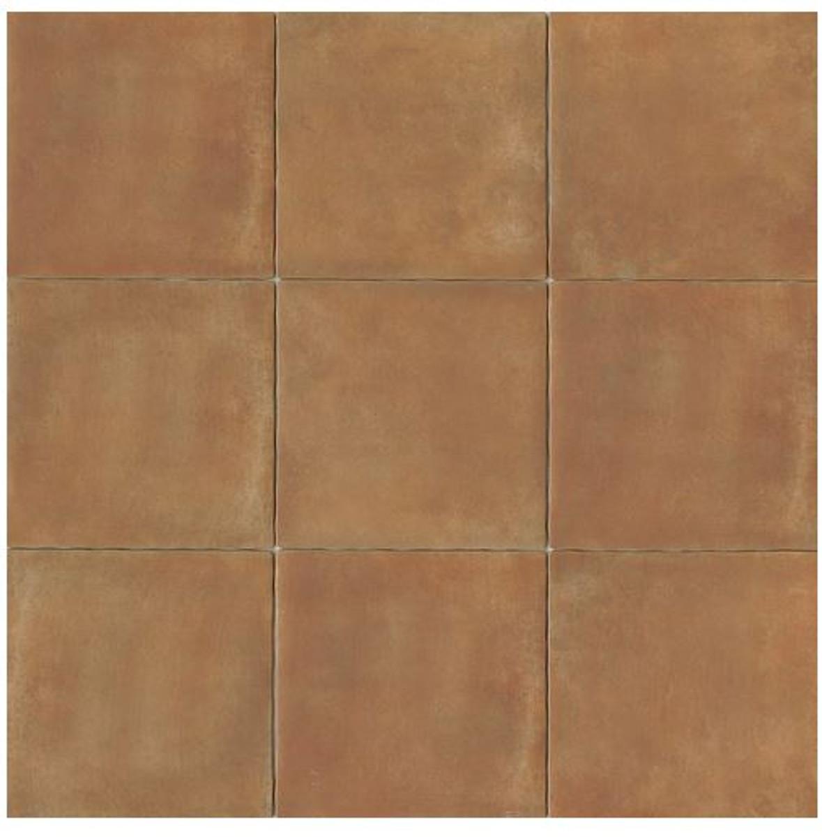 Terra Cotta Porcelain Tile 14x14 Matte Finish Cotto Field Tile Siena ( Caramel )