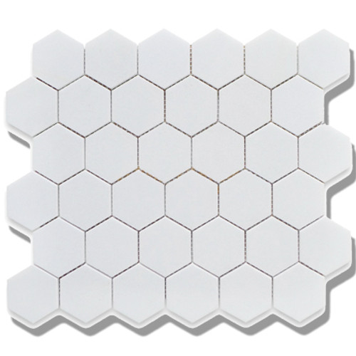 "Alameda Snow White Matte 2"" Porcelain Hexagons"