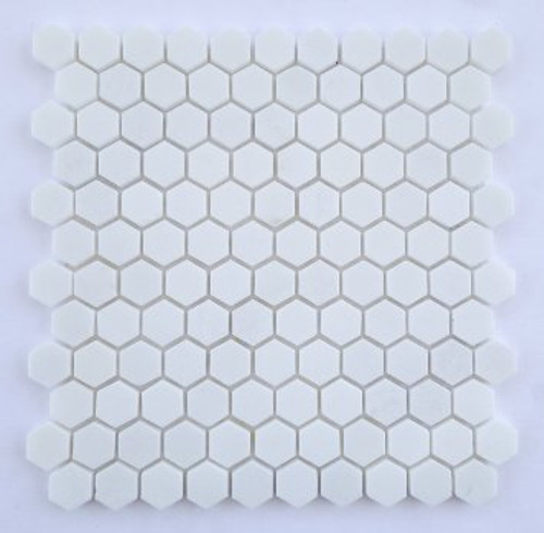 """Thassos Polished or Honed 1"""" Hexagons"""