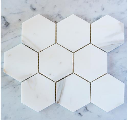 """Calacatta Gold 3"""" Hexagon"""