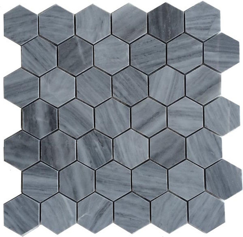 "Bardiglio Gray Honed 2"" Hexagon Marble Mosaic"