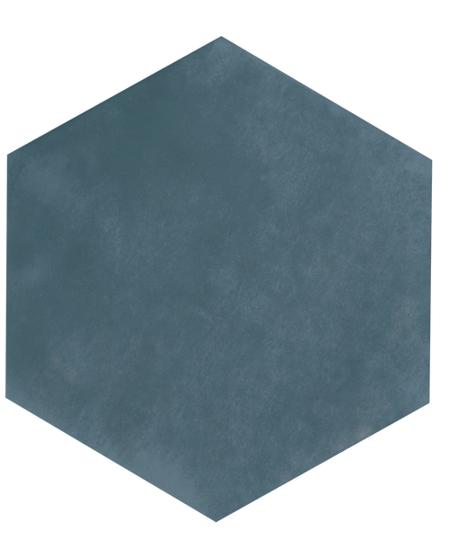 "Manzanita Blue Steel Gloss 7""x8"" Hexagon Ceramic Wall Tile"