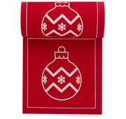 Red with White Xmas Ball Cotton Printed Cocktail Napkin Wholesale (10 Rolls)