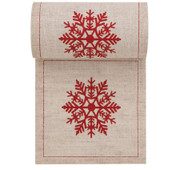 Natural with Red Snowflake Linen Printed Cocktail Napkin Wholesale (10 Rolls)