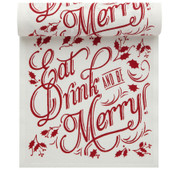 """Eat, Drink & Be Merry"" Linen Printed Luncheon Napkin Wholesale (10 Rolls)"
