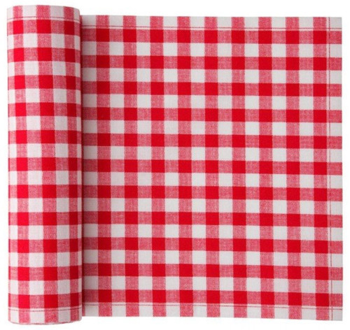 Red Vichy Cotton Printed Luncheon Napkin - 12 Units Per Roll
