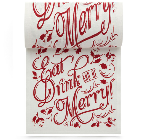 Eat Drink Be Merry Linen Printed Cocktail Napkin Wholesale