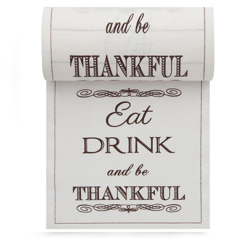 Eat Drink Be Thankful Linen Printed Cocktail Napkin