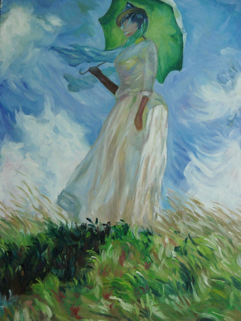 Small painting of a person, stretched canvas but without frame, by Rongerie.  A woman in a white dress walks under the shade of an umbrella in a field of tall green grass.