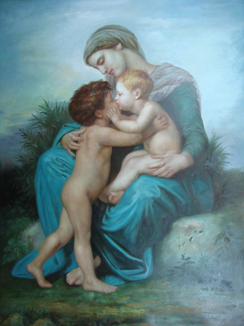 Large religious painting, stretched canvas but without frame, by Belmont.  A woman dressed in blue robes holds two unclothed children as they kiss each other.