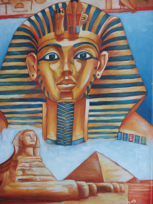 Beautiful oil painting, stretched canvas but without frame, by Maichos.  This small, blue and gold, Egyptian themed painting contains a pyramid and sphinx.