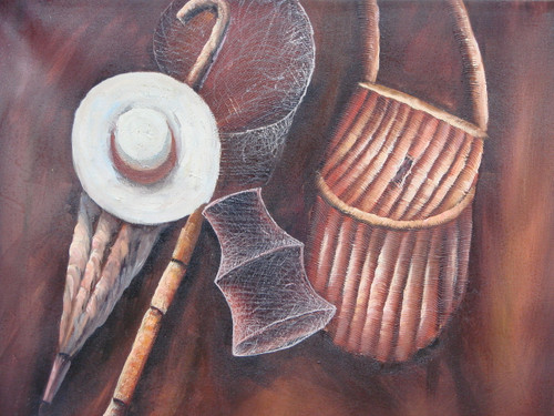 Beautiful still life oil painting, stretched canvas but without frame, signed by J Prama.  Fishing gear, including a white hat, metal nets and wooden basket, line a dark brown colored wall in this medium sized painting.
