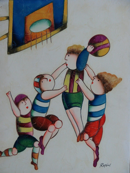 Small oil painting, stretched canvas but without frame, signed Roybal.  A group of children play basketball together.