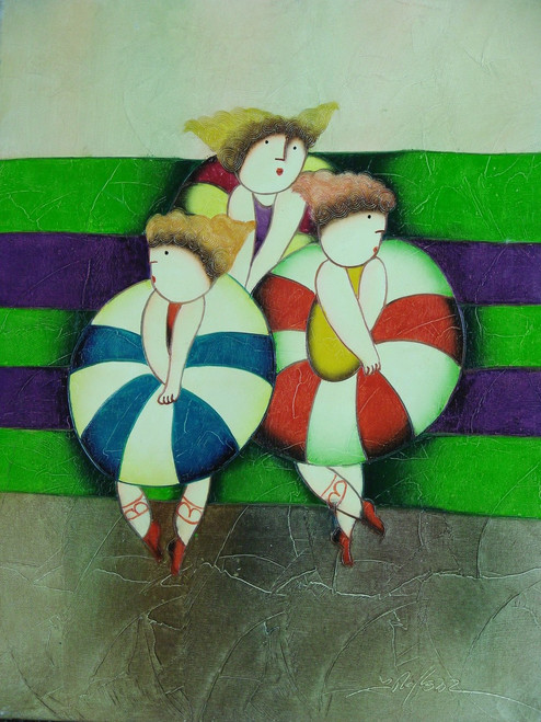 Small oil painting, stretched canvas but without frame, signed Roybal.  Three ballerinas dance in large striped tutus.