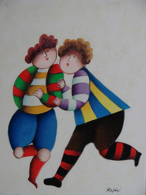 Small oil painting, stretched canvas but without frame, signed Roybal.  A pair of children in colorful clothing run and play together.