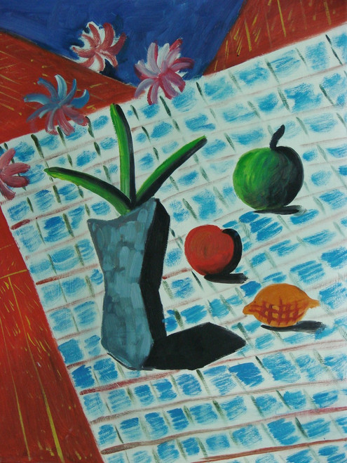 Beautiful small painting on canvas, stretched but without frame, signed by Carman.  A vase of purple flowers, a green apple, red apple, and a lemon sit atop a light blue and white cloth.
