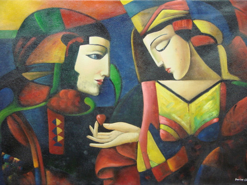 Beautiful medium sized painting on canvas, stretched but without frame, signed by Karine Garcia.  An abstract man and woman dressed in crimson, dark blue and yellow, look at one another as the woman extends a heart.