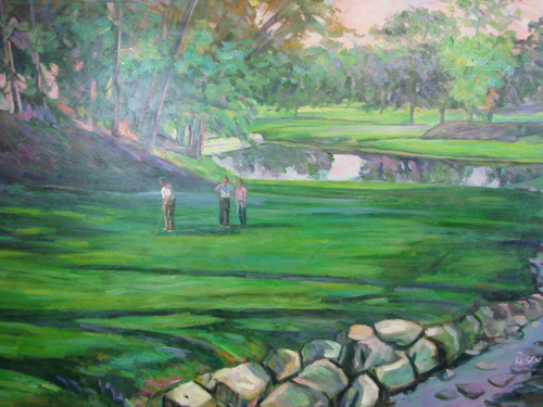 Beautiful large painting on canvas, stretched but without frame, signed by Rosen.  Lush green golf course with a rock lined stream hosts three golfers.