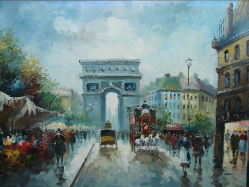 Beautiful large painting, stretched but without frame, by Legendre.  Flower vendors line the street near the Arc de Triumph with several people and carriages traveling past.