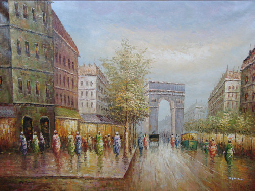 Beautiful large painting, stretched but without frame, by Legendre.  Woman dressed in green, blue and pink walk near the Arc de Triumph.
