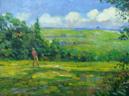 Beautiful medium sized painting, stretched but without frame, by Mickail.  A golfer dressed in brown tees off  on a green golf course hole surrounded by green trees.