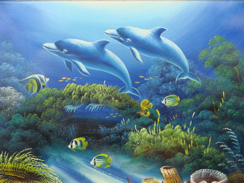 Beautiful medium sized painting, stretched but without frame, by Rosen.  Two dolphins swim near colorful coral and yellow fish.