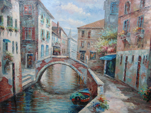 Beautiful large painting, stretched but without frame, by Scott.  Tall brick buildings line the edge of a canal with a rowboat docked near a small bridge.