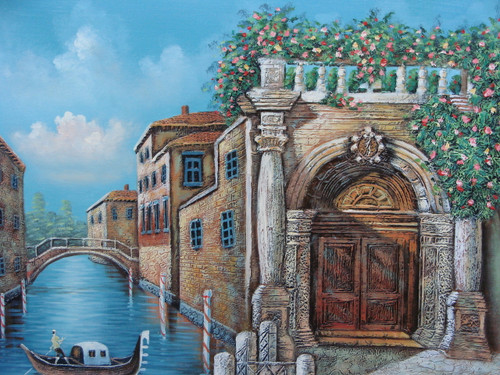 Beautiful medium sized painting, stretched but without frame, by Jaster.  Ivy with pink, yellow and red flowers grows on a brick building along a canal with a gondola.