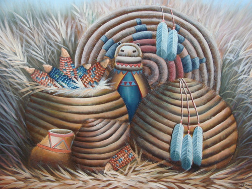 Beautiful medium sized painting, stretched but without frame, by Betty.  Woven Native American baskets hold colorful corn cobs  and several white feathers and a doll are tucked around the baskets, all sitting in a field of wheat.