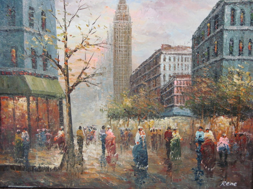 Beautiful medium sized painting, stretched but without frame, by Rene.  Men and women walk down the streets of Paris lined with brick buildings, and autumn trees.